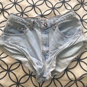 One Teaspoon light-wash denim cutoff shorts, S